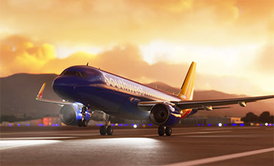 Southwest Airlines Airbus A320 add-on being shown in Microsoft Flight Simulator (MSFS) 2020 release.