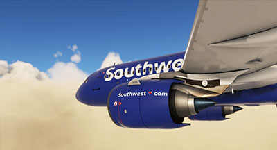 The Southwest Airlines A320neo livery applied in MSFS 2020.