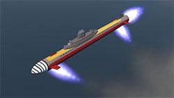 Atragon Submarine in flight.