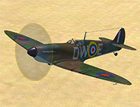 Spitfire flying over desert in P3Dv4.