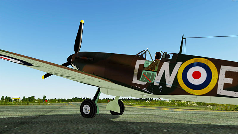 Spitfire MK1A on ramp ready to taxi in P3Dv5.