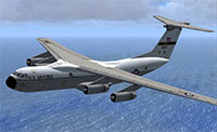 C-141 Starlifter flying over ocean