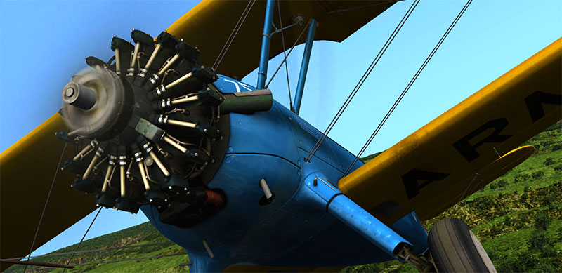 Close-up of the Stearman's engine.