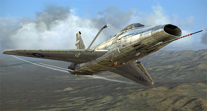 Super Sabre in flight.
