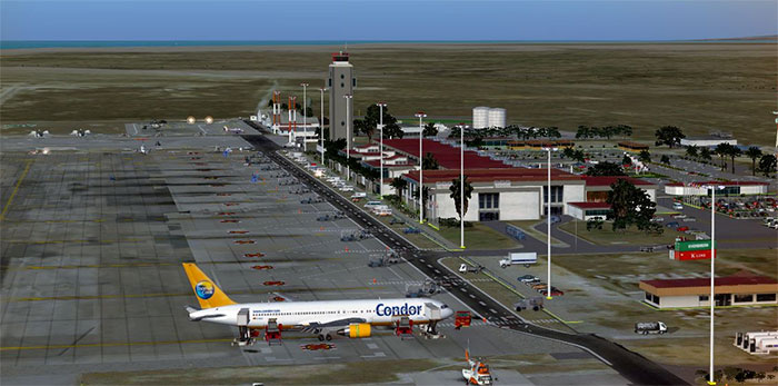 Margarita Airport with Condor aircraft at gate.