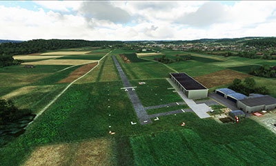 Example screenshot of using the Swiss Airfields add-on in MSFS (2020).