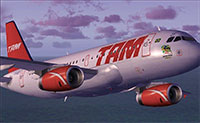 A TAM A319 being flown in FS2004.