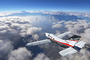 Socata TBM 930 in flight in Microsoft Flight Simulator.