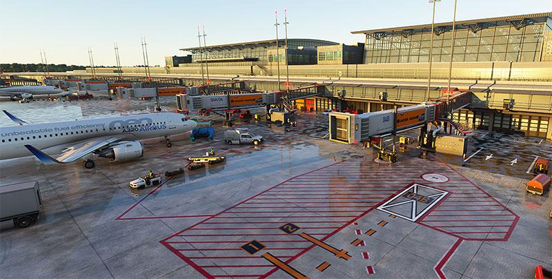 A busy terminal and aircraft gates and jetways at Hamburg in Microsoft Flight Simulator 2020.