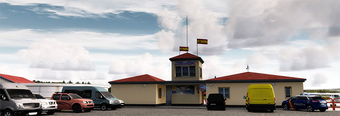 Terminal building with cars