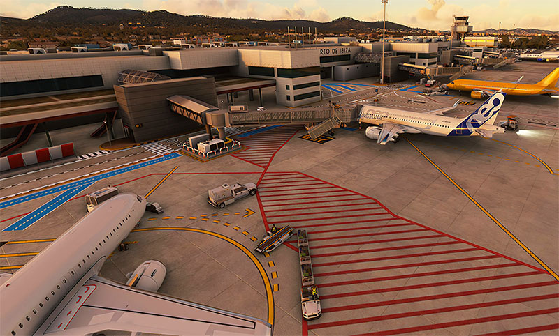 A busy terminal and aircraft gates displayed using the Ibiza scenery add-on.