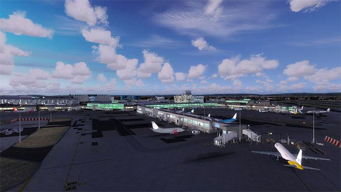 Terminal area at dusk.