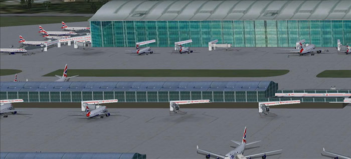 Terminal 5 at Heathrow with British Airways aircraft at gates.