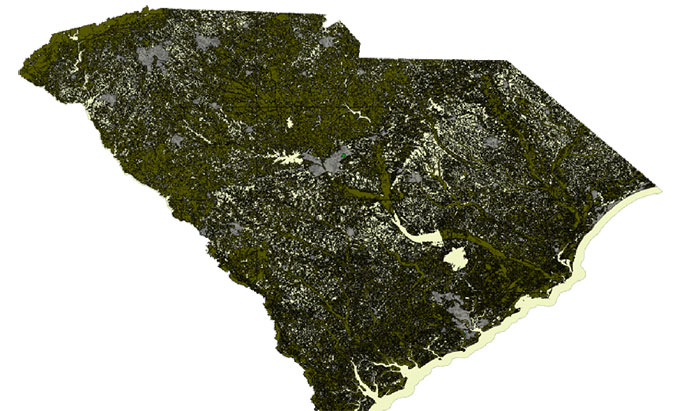 Terrain of South Carolina.