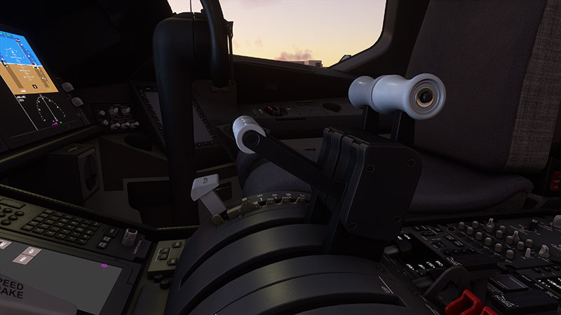 Side angle of the animated thrusters and cockpit glass panels.