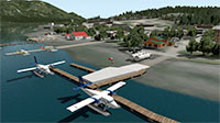 Harbour with docked planes.
