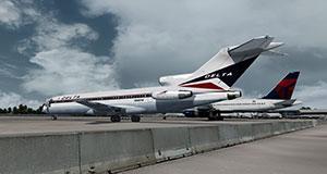 Delta Boeing 727-200 on ramp in P3Dv4.