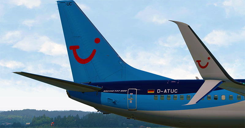 The tail of a Tui 737 in X-Plane 11 - showing how realistic thing can be.