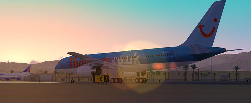 Tui Boeing 757 add-on for FSX on ground in Egypt.