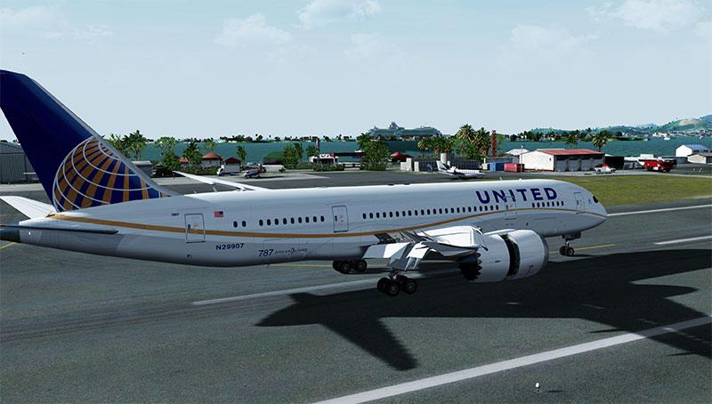 United 787 landing in Prepar3D v4.