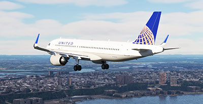 The United Airlines A320 livery shown in MSFS 2020.