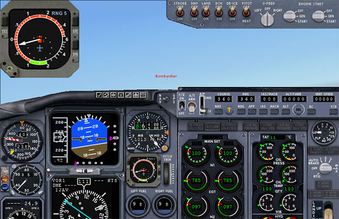 Screenshot showing the TCAS module in operation (top left)