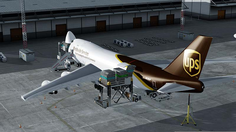 The UPS Cargo Boeing 747 on loading bay in P3Dv5/FSX.