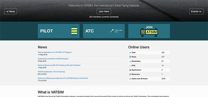 Screenshot of the VATSIM website October 2016
