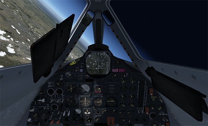 Image shows the virtual cockpit of the aircraft with Earth on one side and Space on the other.