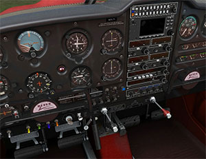 Showing the highly detailed 3D virtual cockpit