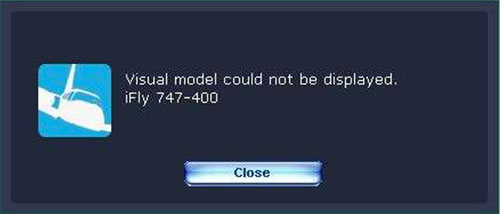 Visual model could not be displayed error box.