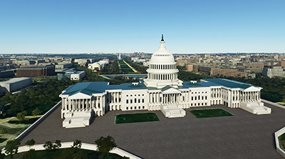 Capitol Building in MSFS 2020 using the scenery addon.