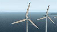 View of wind turbins in the sea.