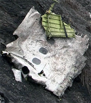 Wreckage showing windows from plane