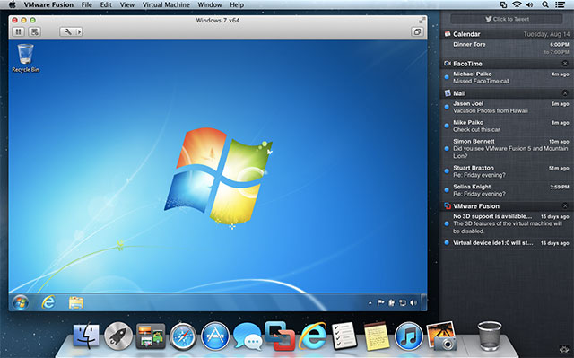 VMWare Fusion running Windows in OS X