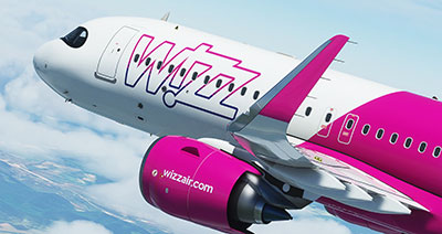 The Wizz Air A320neo livery being displayed within the 2020 simulator.