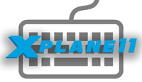 X-Plane 11 logo with keyboard in background.