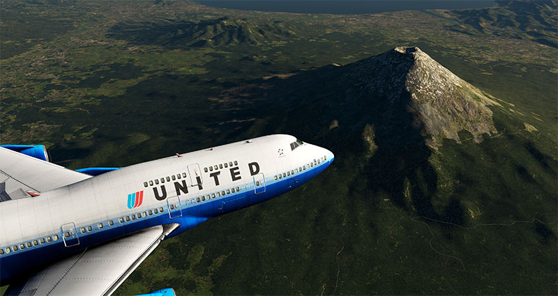 HD Mesh Scenery in X-Plane 11 with Boeing 747 in foreground.