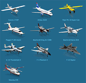The full suite of X-Plane 10 mobile aircraft