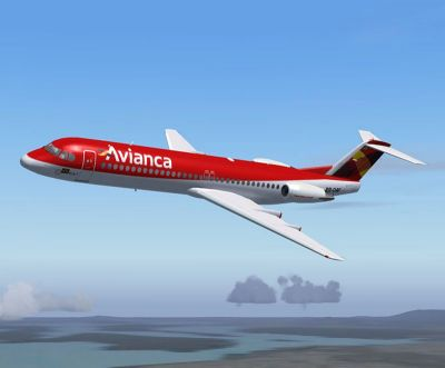 Avianca Fokker 100 in flight.