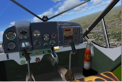 View from the cockpit of PZL 104 Wilga in flight.