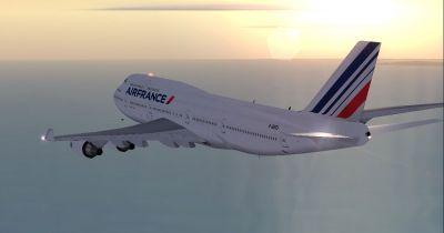 Air France Boeing 747-428 in flight.
