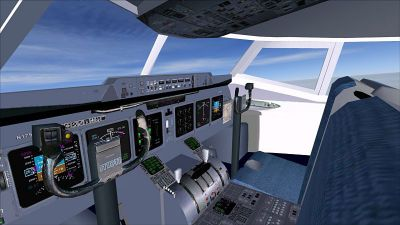 Cockpit of American Airlines McDonnell Douglas/Boeing MD-11.