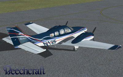 American Beechcraft Baron on runway.