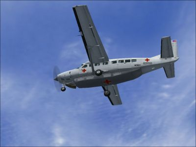 American Red Cross C208B in flight.