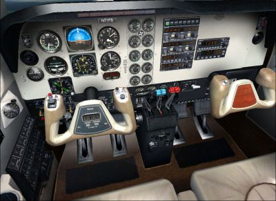 View of the Beech Baron 58 cockpit.