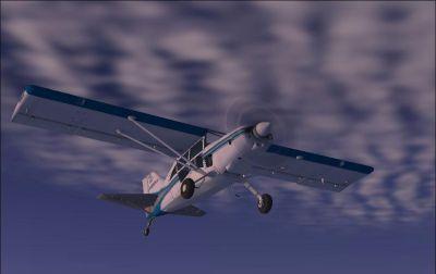 Blue Grey Maule M7 in flight.
