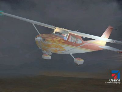 'Fireball' Cessna 182S Skyhawk in flight.