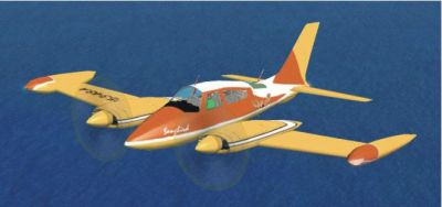 Orange Cessna 310 in flight.