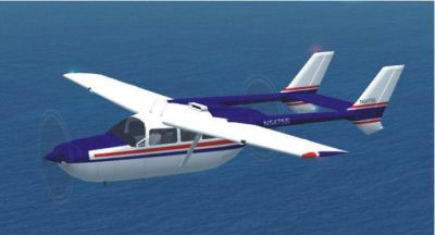 BLue and red Cessna 337 Skymaster in flight.